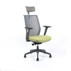 Kancelářská židle s podhlavníkem a područkami, zelená (PORTIA)