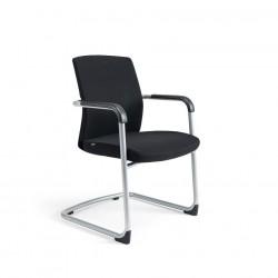 Jednací židle čalouněná, černý plast, zelená 203 (JCON)