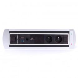 Elektricky otočný panel, 2x el.zás.,1x Qi bezdr. nabíjení, 1x data, 1x USB nabíjení, 1x USB 3.0, 1x HDMI (BTCZ 015)