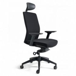Kancelářská židle čalouněná s podhlavníkem, černý plast, zelená 203 (J2 SP)
