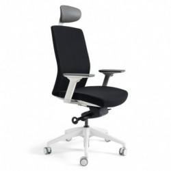 Kancelářská židle čalouněná s podhlavníkem, bílý plast, tmavě modrá 211 (J2 WHITE SP)