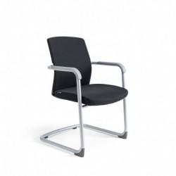 Jednací židle čalouněná, bílý plast, tmavě modrá 211 (JCON WHITE)