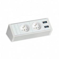 Pevný panel na hranu stolu, bílý, 2x el., 2x USB 3.0 (PECZ W 001)