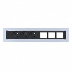 Konfigurovatelný pevný panel, 3x el. zásuvka, 3x volný slot pro 3 až 6 konektorů (KPP 6)
