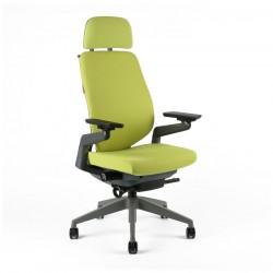 Kancelářská židle čalouněná s podhlavníkem, F-01 zelená (KARME)