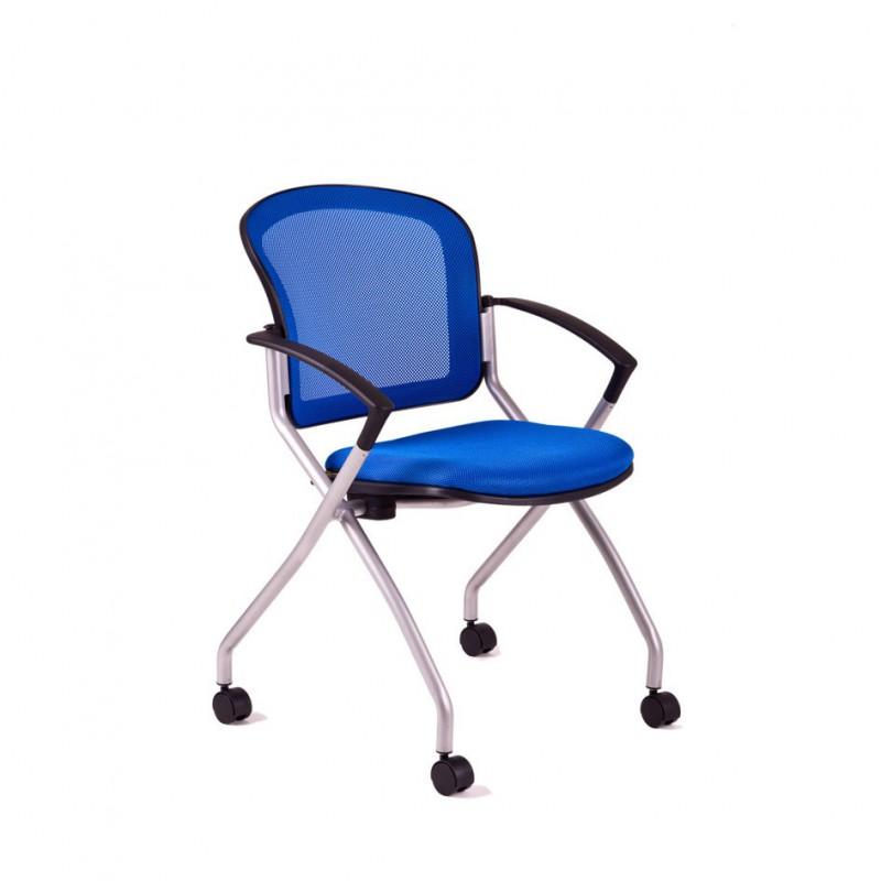 Jednací židle s kolečky, DK 90, modrá (METIS)