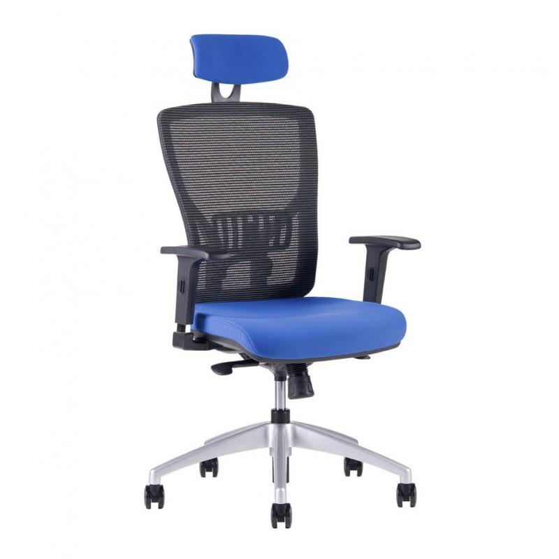 Kancelářská židle s podhlavníkem, 2621, modrá (HALIA MESH SP)