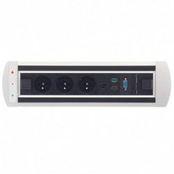 Elektricky otočný panel, 3x el.,1x data ,VGA, USB 3.0, HDMI (VAULT BTCZ 014)