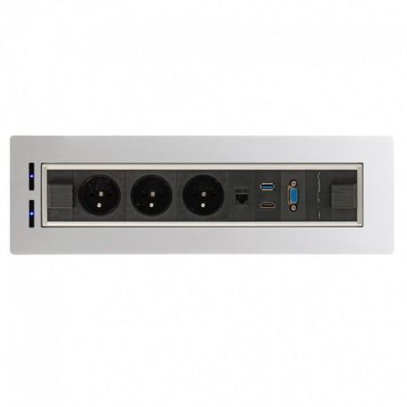 Elektricky otočný panel, 3x el.,1x data ,VGA, USB 3.0, HDMI (VAULT BTCZ V 014)