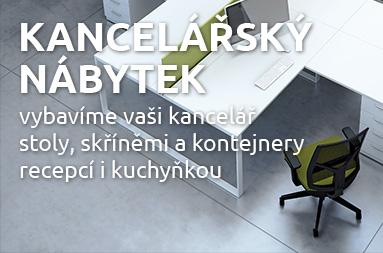 Vybavíme vaši kancelář stoly, skříněmi a kontejnery, recepcí i kuchyňkou